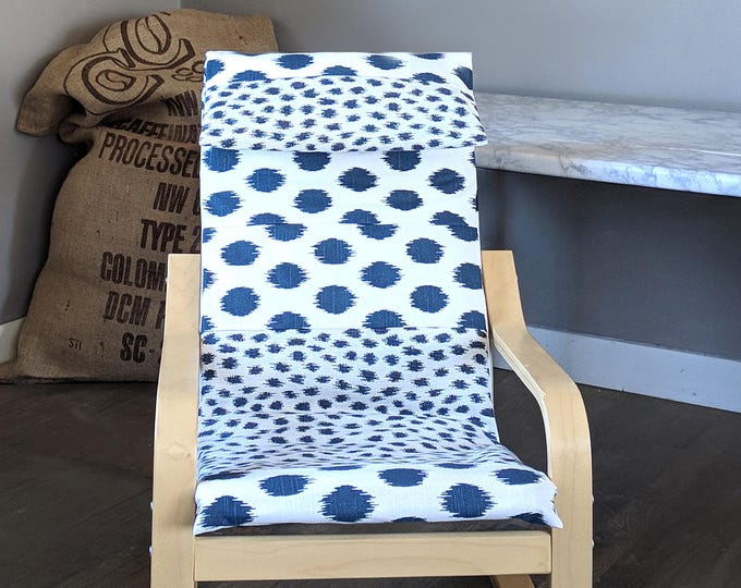 Patchwork Navy Blue Polka Dot Kids Ikea Poang Chair Cover, Custom Childrens Poang Seat Cover
