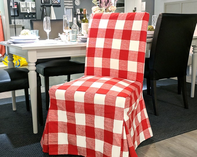 Featured listing image: IKEA HENRIKSDAL Dining Chair Cover, Red Buffalo Check Traditional Style Henriksdal Slipcover
