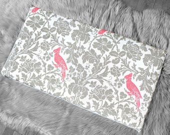 Pink Cockatoo Bird Print IKEA STUVA Bench Pad Slip Cover, Gray Floral