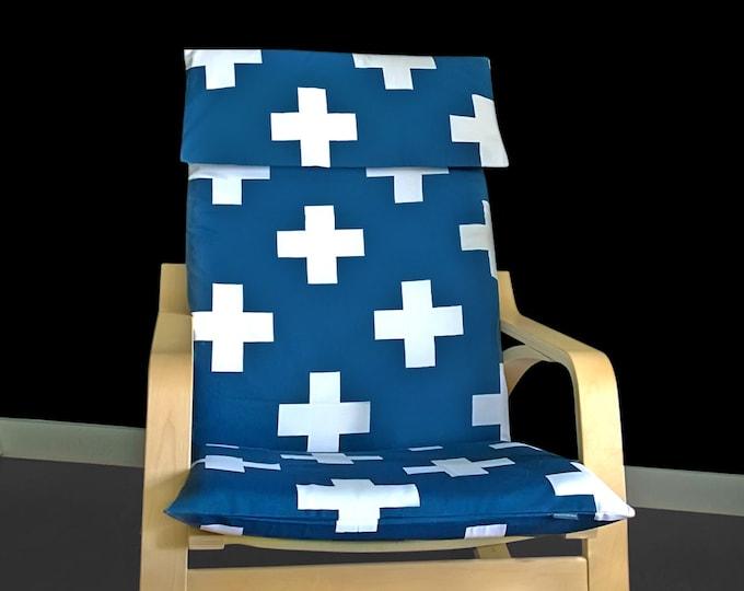 Navy Swiss Cross IKEA POÄNG Cushion Slipcover