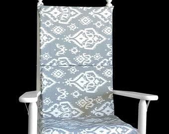 Gray Indian Ikat Rocking Chair Cushion