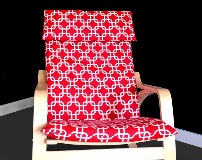 Red Squares Poang Cover, Red Ikea Poang Chair Cover