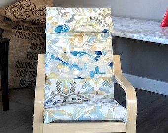 Patchwork Blue Metallic Gold Floral IKEA Childrens POÄNG Cushion Slipcover