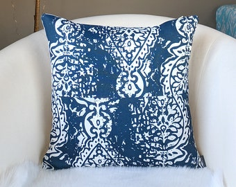 "Navy Blue Ikat Print Pillow Cover, 18"" x 18"""