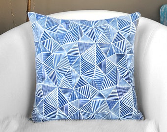 Navy Blue Geometric Print Toss Pillow Cover