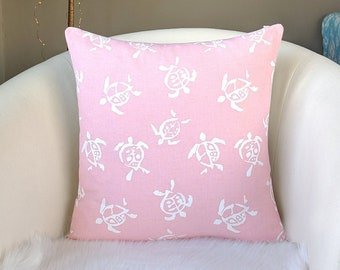 Pink Sea Turtle Print, Baby Nursery Pillow Cover