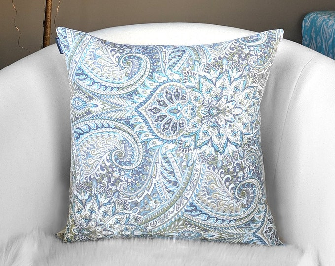 Paisley Gray, blue Floral Pillow Cover