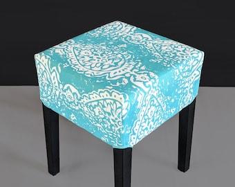 Ocean Turquoise Blue Ikat IKEA Nils Stool Seat Cover