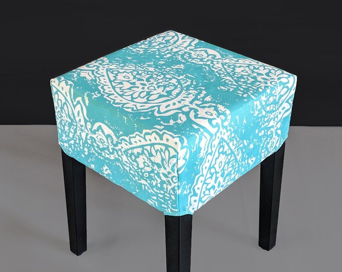 Ocean Turquoise Blue Ikat IKEA Nils Stool Seat Cover