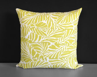 Yellow Green Palm Leaves Pillow Cover