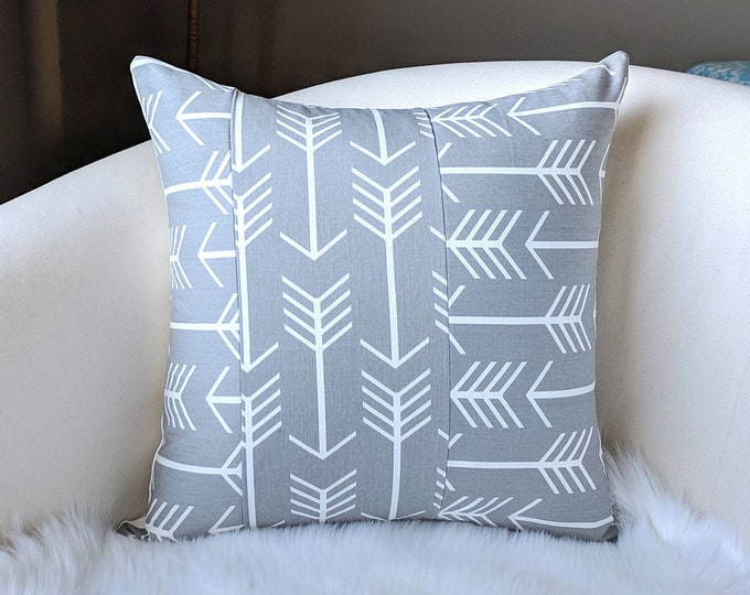 """Patchwork Arrows Grey 18"""" x 18"""" Pillow Cover, Ready to Ship"""