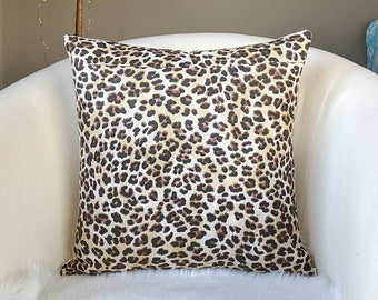 """Leopard Animal Print Pillow Cover 18"""" x 18"""""""