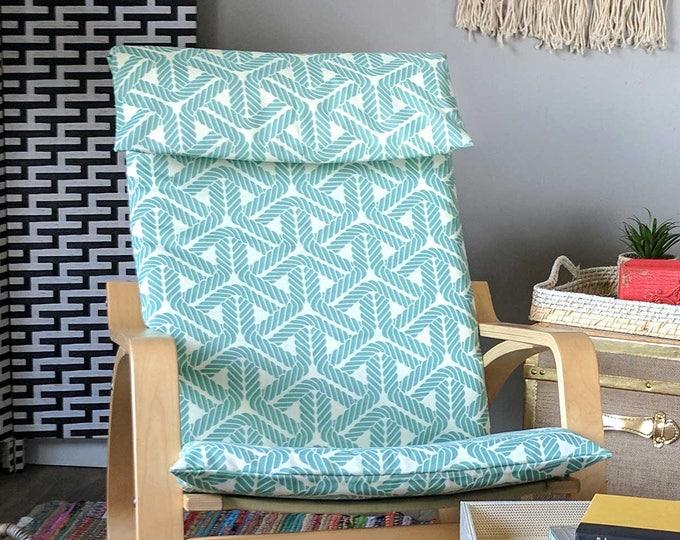 Blue Outdoor Geometric Rope IKEA POÄNG Cushion Slipcover, Ready to Ship