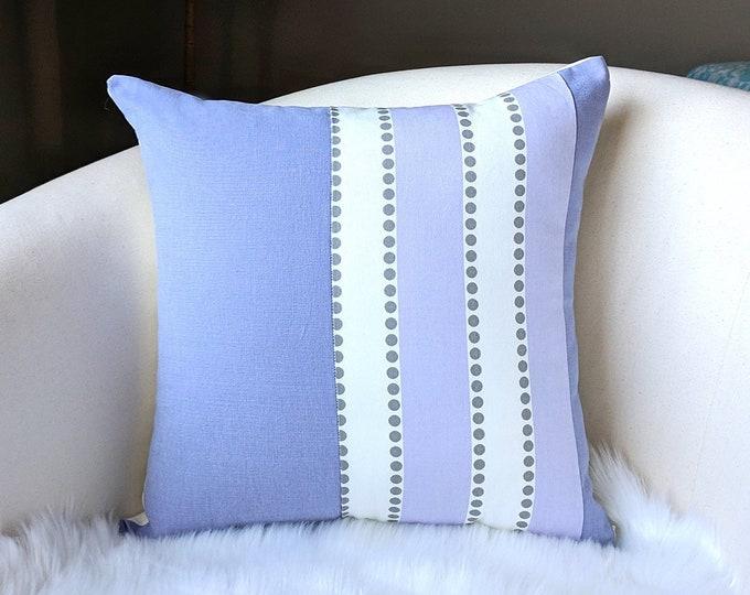 Patchwork Throw Pillow Cover, Stripe Polka Dot Lavender White