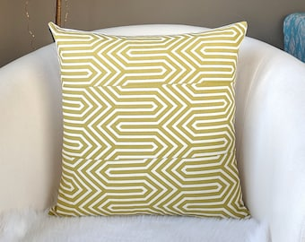 "Geometric Olive Green Print Pillow Cover 18"" x 18"""