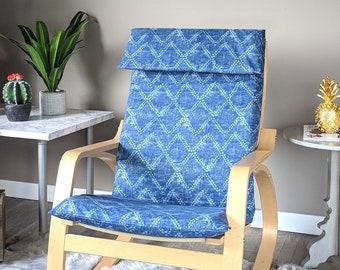 Indigo Blue Diamond Shibori Print IKEA POÄNG Cushion Seat Cover