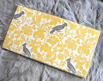 Yellow Bird Print IKEA Bench Pad Slip Cover, Cockatoo Floral