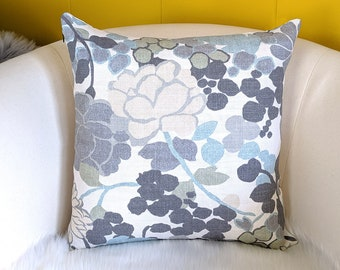Blue Gray Flowers Pillow Cover