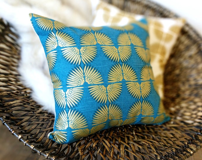 Euro Pillow Cover, Turquoise Peacock Blue, Metallic Gold