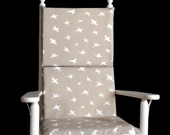 Beige Bird Print Rocking Chair Cushion, Reversible Rocking Chair Inserts And Covers