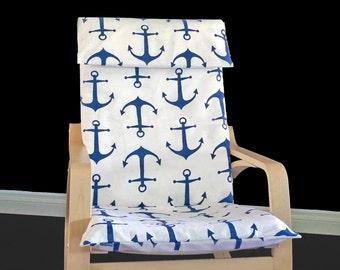 Navy Anchor IKEA POÄNG Chair Covers, Nautical Ikea Covers, Sea Chair Slip Covers