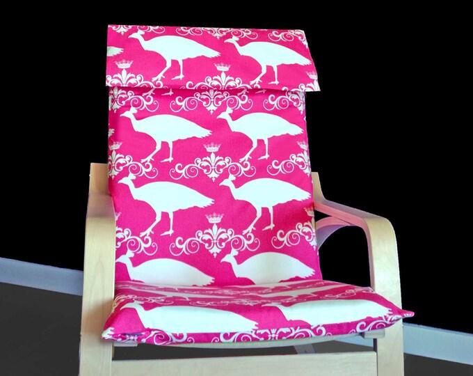SALE Pink Peacock Ikea POÄNG Chair Cover, Bird Print Ikea Chair Cover