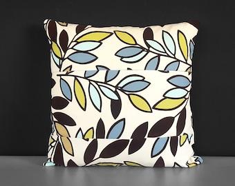 Flocked Velvet Patchwork Brown Blue Leaves Pillow Cover
