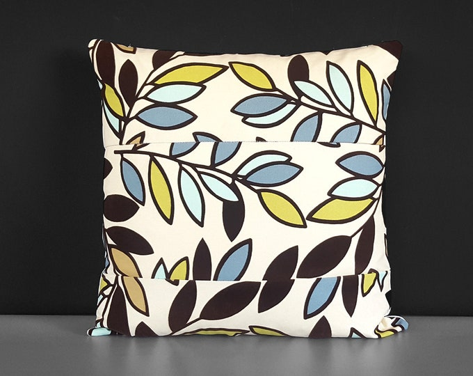 Flocked Velvet Patchwork Brown Blue Leaves Pillow Cover