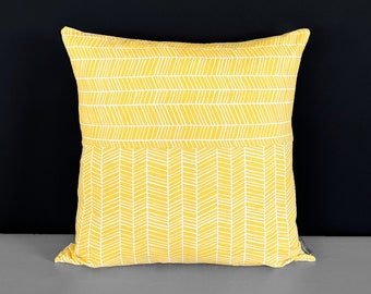 Throw Pillow Cover, Patchwork Canary Yellow Herringbone
