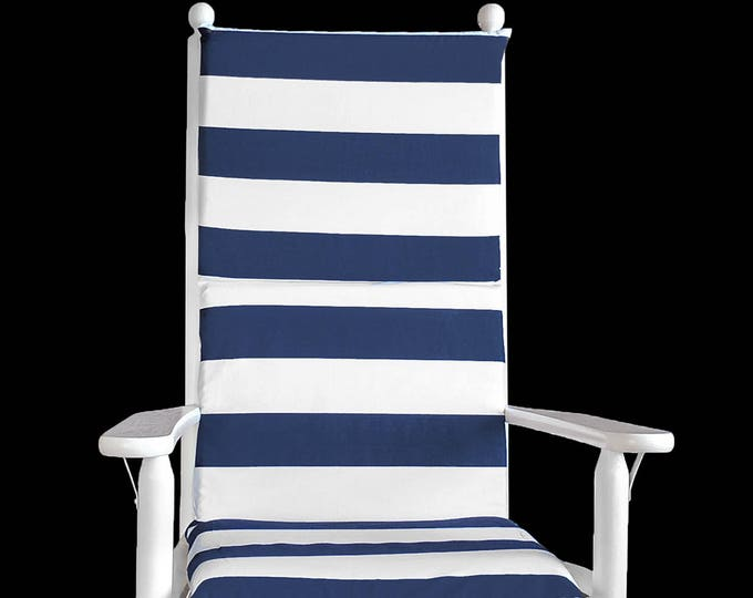Navy Blue Cabana Stripe Rocking Chair Cushion And Or Covers, Ready To Ship