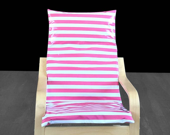 Wipeable Candy Pink Stripe IKEA KIDS POÄNG Cushion Cover