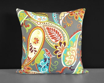Paisley Colorful Flowers Pillow Cover