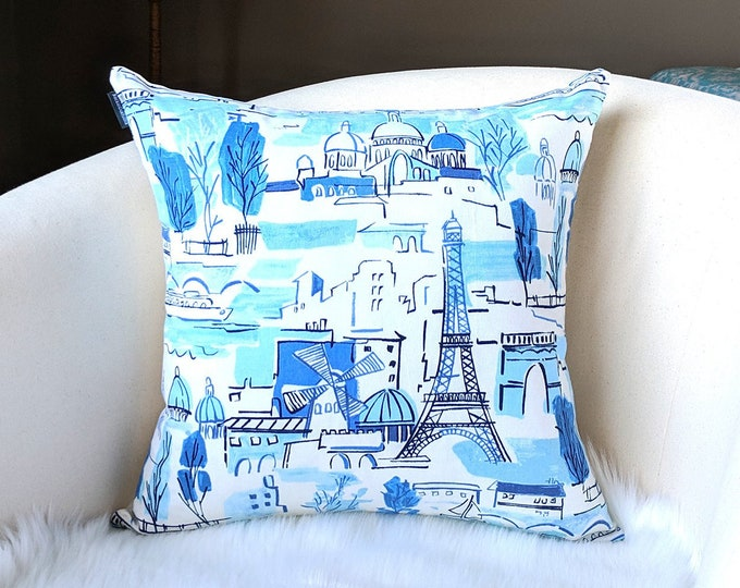 Paris Blues City Pillow Cover, French Illustration, Painting