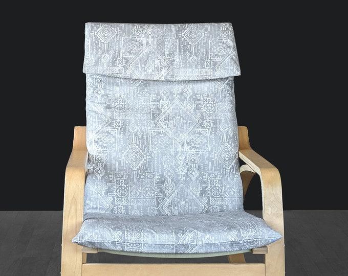 Tribal Indian Gray IKEA POÄNG Chair Cover, Cushion Slip Cover, Sioux