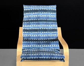 Striped Indigo KIDS Tribal POÄNG Cushion Slipcover