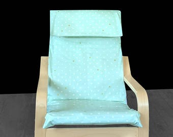 KIDS POÄNG Triangle Tokens Cushion Seat Cover, Mint Green