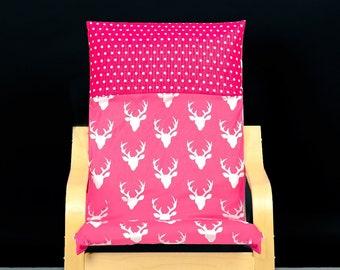 Pink Deer, Staghead Polka Dots Ikea KIDS POÄNG Cushion Slipcover