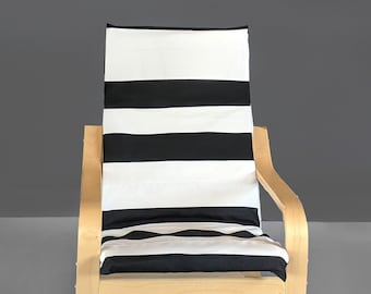 Black White Stripe IKEA KIDS POÄNG Cushion Slip Cover