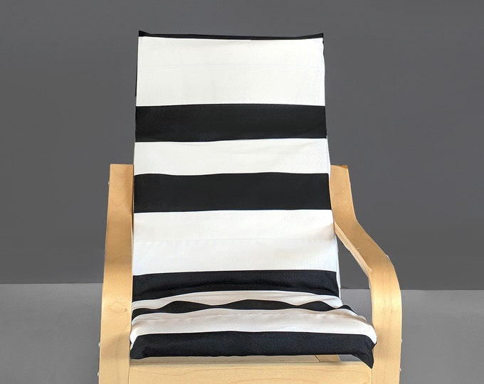 Black White Stripe IKEA KIDS POÄNG Cushion Slip Cover