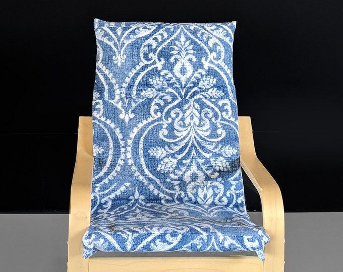 Damask Floral Blue IKEA KIDS POÄNG Cushion Slipcover