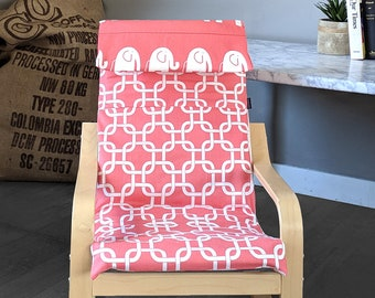 Coral Pink Squares Pattern with Elephants, Girls Ikea Poang Chair Cover, Girls Poang Seat Cover