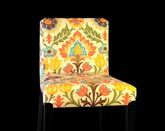 Colorful Flowers IKEA HENRIKSDAL Bar Stool Chair Cover, Beige, Brown, Orange, Santa Maria Adobe