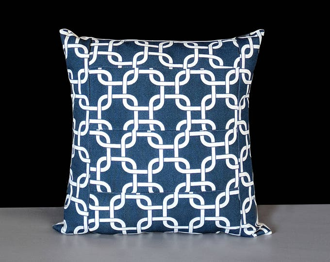 Navy Blue Squares Geometric Pillow Cover, Patchwork