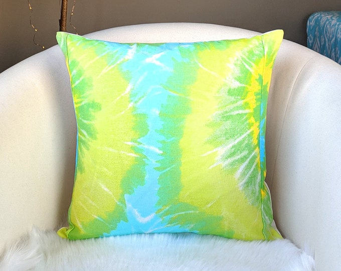 "Tie Dye Neon Blue Yellow Green Pillow Cover 18"" x 18"""