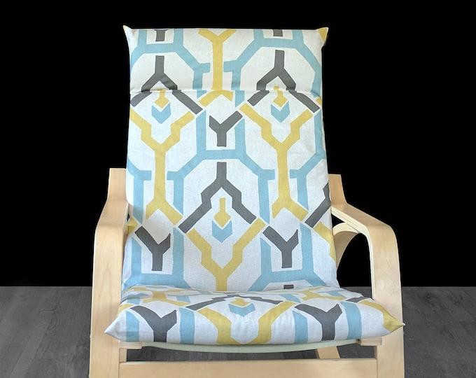 Beige Geometric Print Ikea Poang Cover, Custom Ikea Covers
