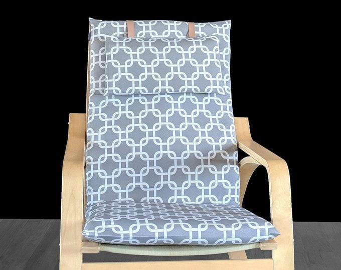 RETRO style Geometric Gray IKEA POÄNG Cushion Slipcover, Patterned Custom Ikea Chair Covers