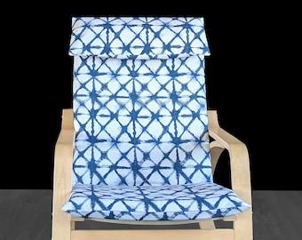Japanese Shibori Print IKEA POÄNG Cushion Seat Cover, Indigo Blue