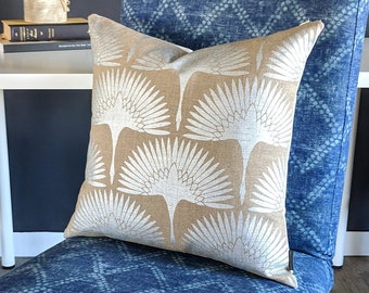 Metallic Silver Fan Natural Pillow Cover