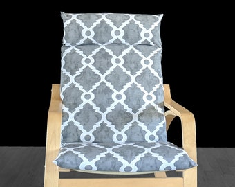 Gray Watercolor Trellis Print, IKEA POÄNG Cushion Slipcover