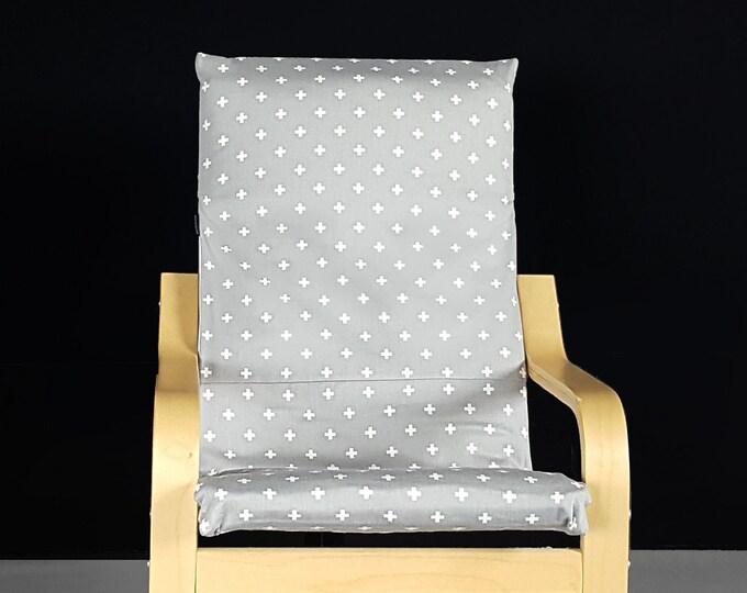 Gray Cross IKEA KIDS POÄNG Cushion Slipcover